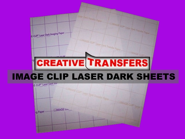 IMAGE CLIP Laser Dark Heat Transfer Papers are designed for the transfer of full color images. Easy to use and transfer with oil or oil-less laser color copiers or color laser printers to dark and bright colored items including: T-shirts, handbags, mouse pads, coasters, leather articles, art papers, etc.